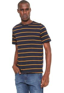 Camiseta Hering Listrada Azul-Marinho/Laranja