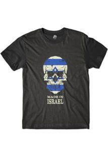 Camiseta Bsc Caveira País Israel Sublimada Masculina - Masculino-Preto