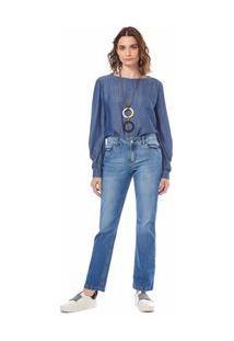 Calça Maria.Valentina Straight M. Helena Cós Intermediário Detalhe Pesponto Jeans