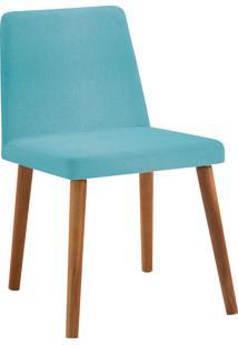 Cadeira Pri Base Gota Madeira Tauari Linho Daf Azul