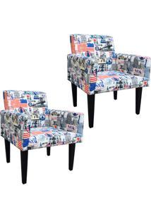 Kit 02 Poltronas Decorativa Dani Para Sala E Recepção Estampado Eua D13 - D'Rossi