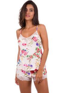 Conjunto Feminino Short Doll Com Renda Inspirate - Feminino-Branco+Rosa