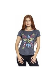 Camiseta Sideway Mulher Maravilha Logo - Cinza/Preto