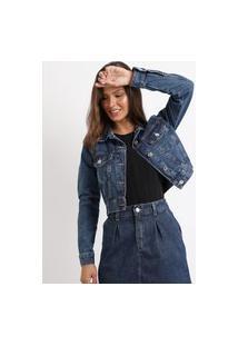 Jaqueta Jeans Feminina Cropped Com BolsosAzul