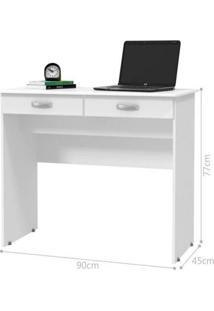 Escrivaninha 2 Gavetas - Branco Brilho