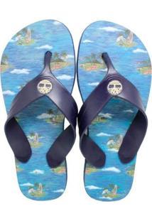 Chinelo Timberland Graphic Vintage Beach Masculino - Masculino-Azul