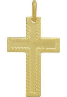 Pingente Prata Mil Cruz Centro Liso Borda Reticulada Dourado