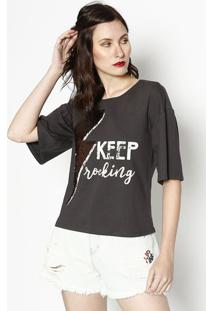 "Camiseta ""Keep Rocking"" Com Paetês- Cinza Escuro & Off Wdzarm"