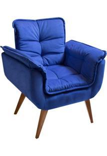 Poltrona Decorativa Opalla Ii Suede Azul