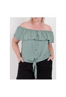 Blusa Ciganinha Com Amarração Plus Size Feminina Verde