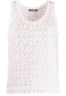 Balmain Blusa De Tweed - Rosa