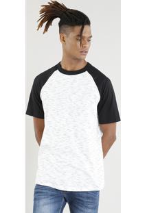 Camiseta Raglan Masculina Manga Curta Gola Careca Off White