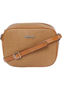 Bolsa Transversal Texturizada- Caramelo- 16X21X7Cm