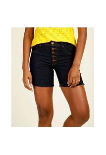 Bermuda Feminina Jeans Botões Barra Desfiada Biotipo