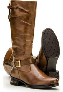 Bota Montaria Em Couro Capelli Boots Feminina - Feminino-Marrom