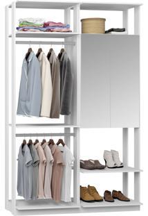 Closet 2 Portas Espelhadas 2 Cabideiros 9015 Branco - Bentec