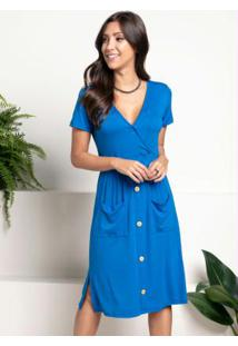 Vestido Azul Royal Com Bolsos