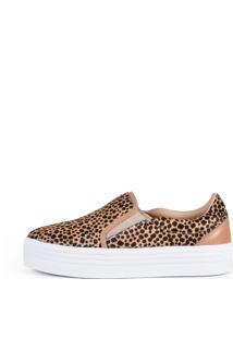 Sneaker Balaia Mod144 Em Couro Leopardo
