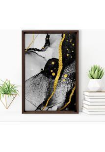 Quadro Love Decor Com Moldura Chanfrada Abstrato Madeira Escura - Médio