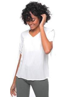 Blusa Sob Em Crepe De Viscose Decote V - Feminino-Off White