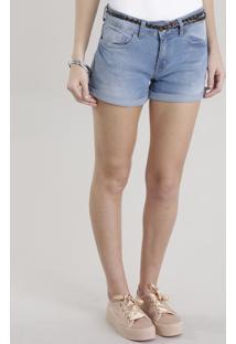 Short Jeans Reto Com Cinto Azul Claro