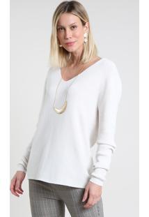 Suéter Feminino Em Tricô Canelado Decote V Branco