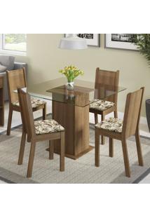 Conjunto Sala De Jantar Madesa Magda Mesa Tampo De Vidro Com 4 Cadeiras Marrom - Tricae