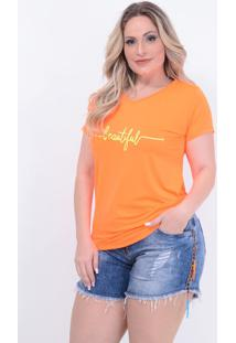T-Shirt Neon Laranja Plus Size: Laranja: 46 - Laranja - Feminino - Dafiti