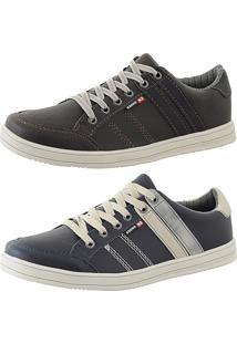 Kit Tênis Sapatenis Cr Shoes Leve E Baixo Lançamento Café E Azul