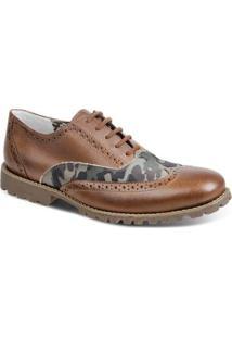 Sapato Casual Couro Oxford Sandro & Co. Aubry Masculino - Masculino-Marrom Claro