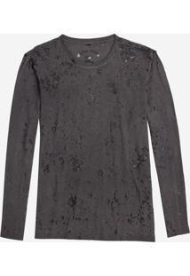 Camiseta John John Ml Basic Devore Malha Cinza Masculina (Cinza Escuro, P)