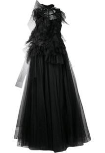 Nº21 Vestido Com Sobreposição De Renda - Preto