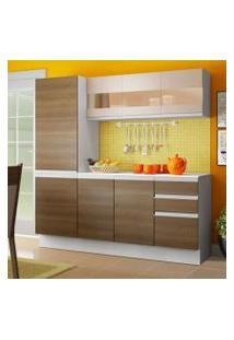 Cozinha Compacta 100% Mdf Madesa Smart 170 Cm Modulada Com Armário, Balcão E Tampo Branco/Rustic/Crema