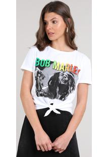 Blusa Feminina Bob Marley Manga Curta Decote Redondo Off White