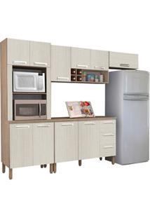 Cozinha Compacta Ametista Com Balcão 10 Portas Composição 8 Nogal/Aren