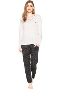 Pijama Pzama Paris Branco/Preto