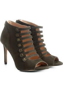 Sandália Couro Shoestock Salto Fino Botões Feminina - Feminino-Musgo