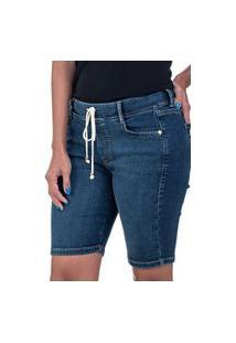 Bermuda Jeans Bloom Jogger Com Elastano Azul