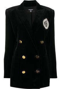 Balmain Blazer Com Abotoamento Duplo E Logo Bordado - Preto