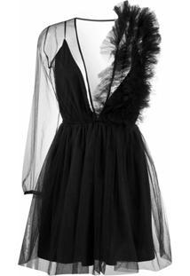 Alchemy Vestido Assimétrico Translúcido - Preto
