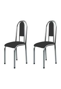 Kit 2 Cadeiras Anatômicas 0.122 Estofada Cromado/Preto - Marcheli