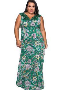Vestido Almaria Plus Size Pianeta Longo Renda Mult
