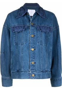 Mame Kurogouchi Jaqueta Jeans Com Bordado Na Gola - Azul