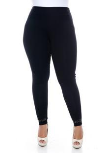 Calça Slim Fashion Legging Plus Size Modeladora Com Pedraria Na Barra Preto
