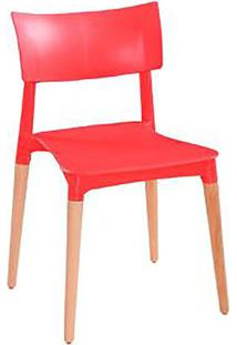Cadeira Flat- Vermelha & Marrom Claro- 74,5X42,5X44,Falkk