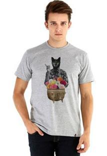 Camiseta Ouroboros Manga Curta Cat Witch - Masculino-Cinza