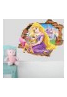 Adesivo De Parede Buraco Falso 3D Infantil Rapunzel - M 61X75Cm