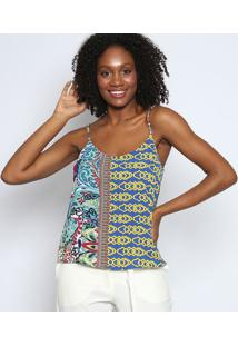 Blusa Arabescos Texturizada- Verde & Azul Royaltvz
