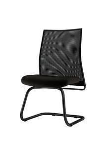 Cadeira Liss Assento Courino Base Fixa Preta - 54663 Preto