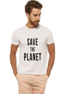 Camiseta Joss Estampada - Save The Planet 3 - Masculina - Masculino-Branco